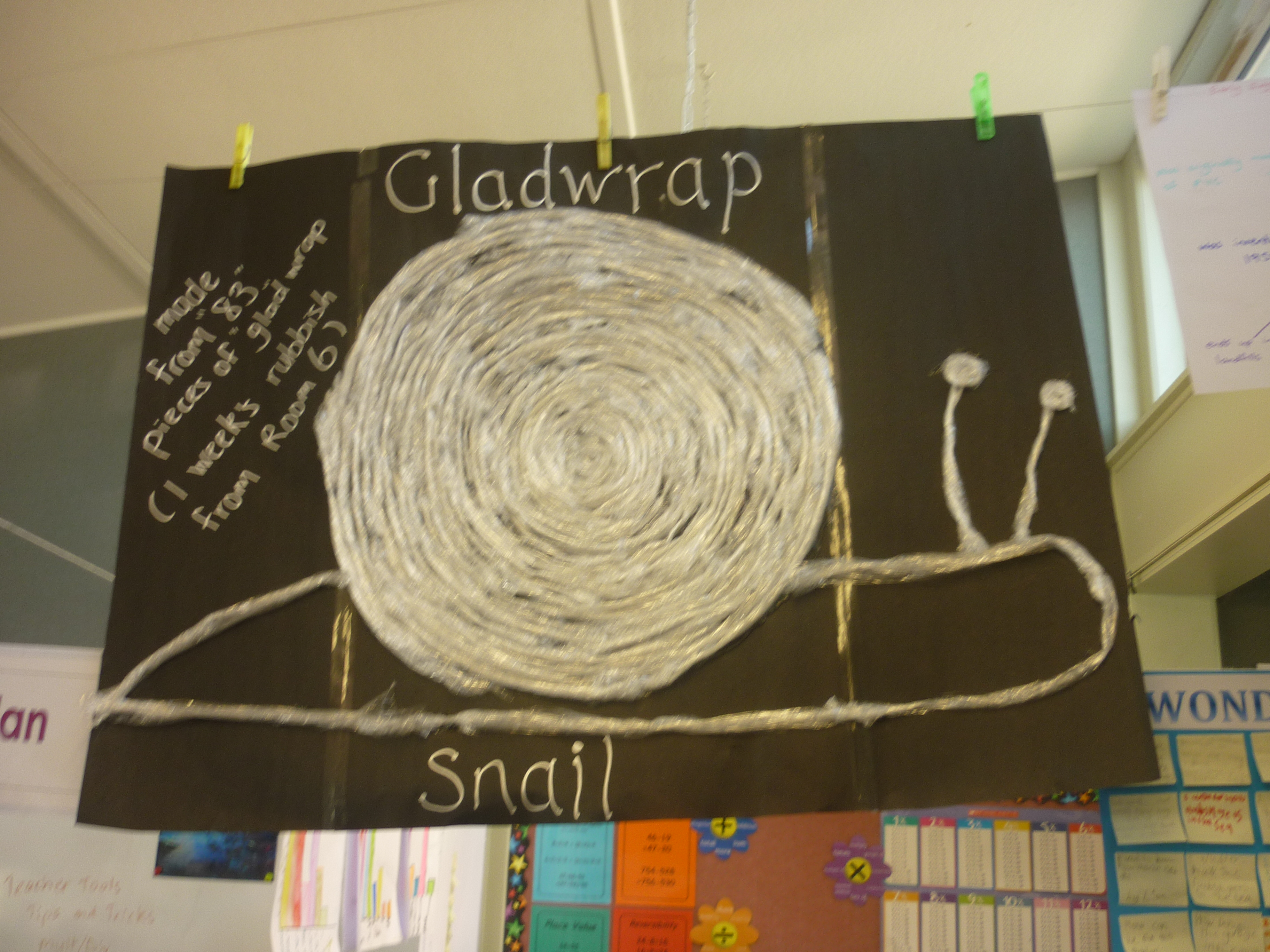 Room 6's (Waverley Park) Gladwrap Snail made from 1 weeks glad-wrap (83 pieces)