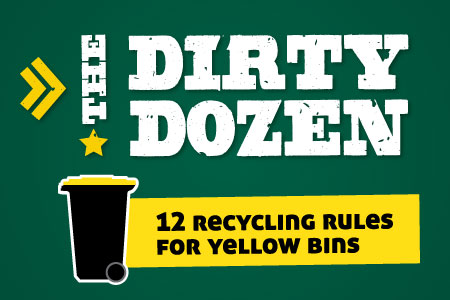 The Dirty Dozen - the 12 recycling rules for Southland Councils yellow bins