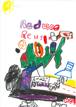 Student poster about reduce, reuse, recycle