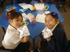 Waverley Park students test their recycling knowledge with origami finger cubes