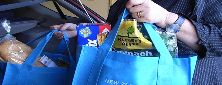Groceries packed in reusable cloth bags
