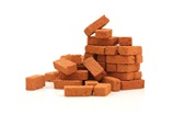 A pile of orange bricks