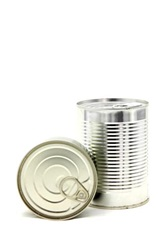 Two metal cans, cleaned and ready to be recycled