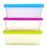 Lidded plastic containers stacked on top of each other