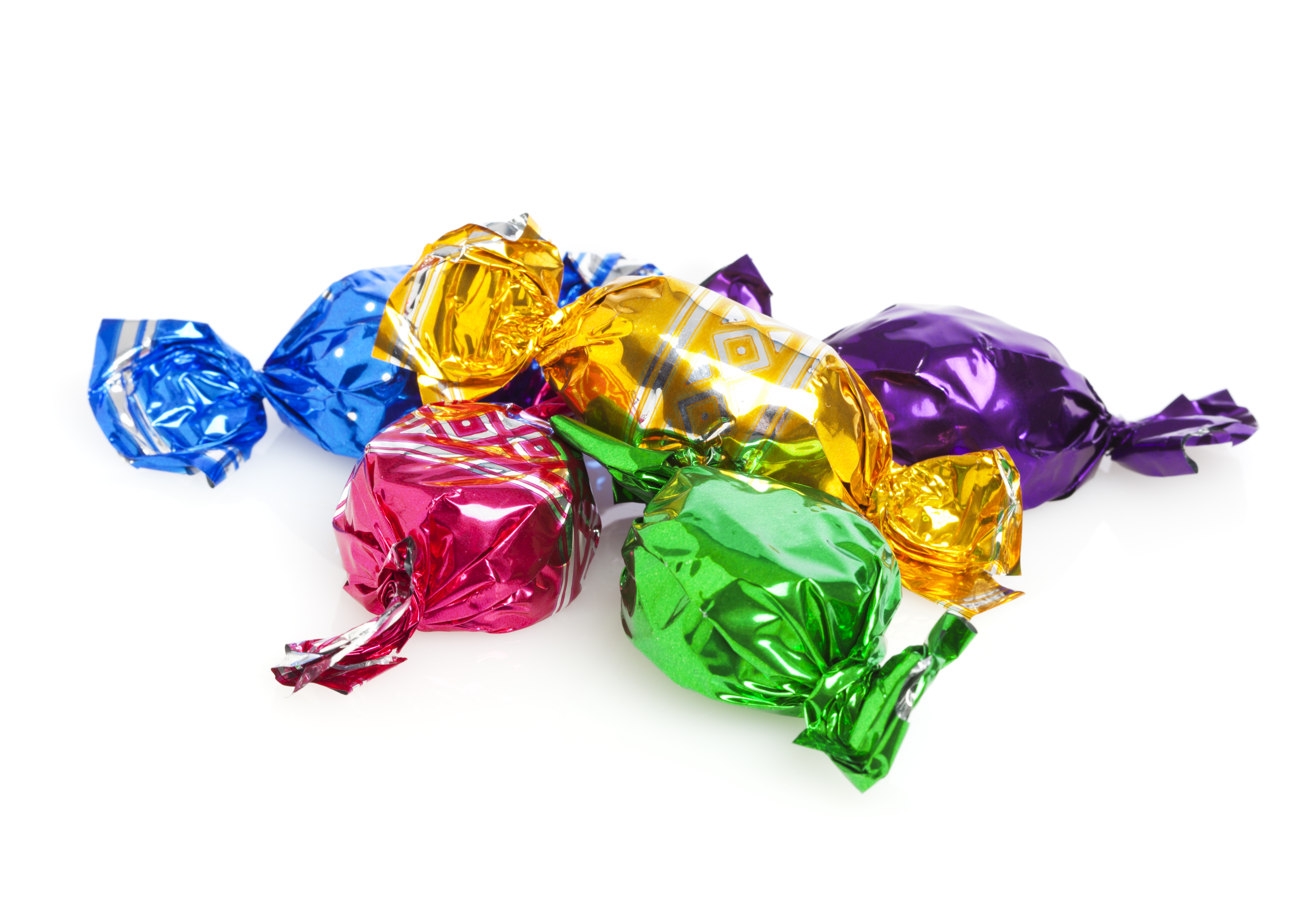 A pile of foil wrapped lollies